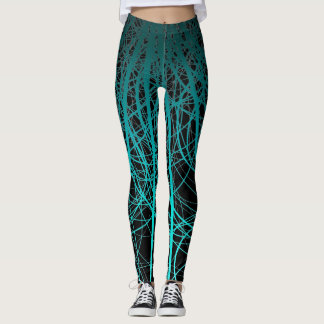 Linear Abstract2 Aqua - Leggings