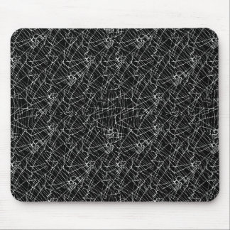 Linear Abstract Black and White Mouse Pad