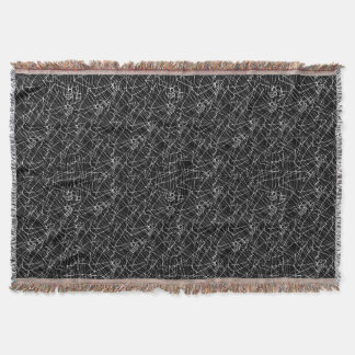 Linear Abstract Black and White Throw Blanket