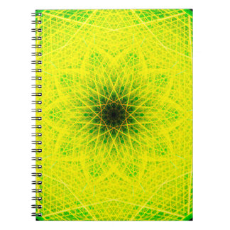 Linear Lemon Mandala Spiral Notebook
