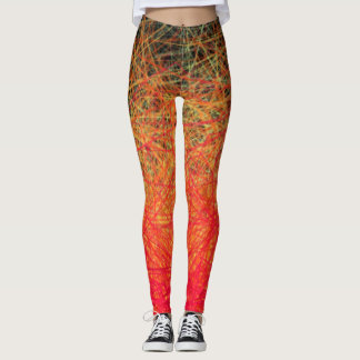 Linear Red Gradation - Leggings