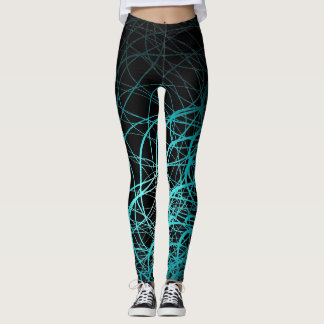 Linear Waves Blue - Leggings