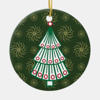 Lined Christmas Tree Round Ceramic Ornament