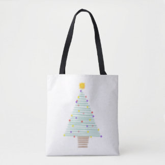 lined christmas tree tote bag