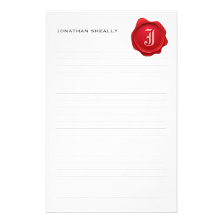 Lined Elegant Monogram Wax Personal Stationery