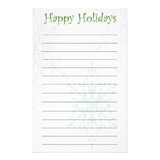 Lined Happy Holidays Accented Snowflake Stationery