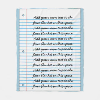 Lined Notebook Paper Look Add Your Own Writing Fleece Blanket