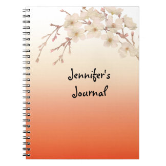 Lined Orange Shades Branch of White Blossoms Notebooks