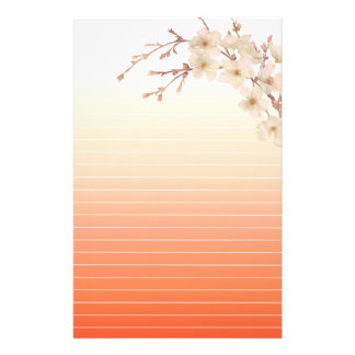 Lined Orange Shades Branch of White Blossoms Stationery
