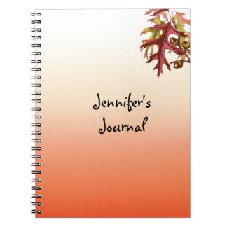 Lined Orange Shades Deep RedFall Leaves Notebook