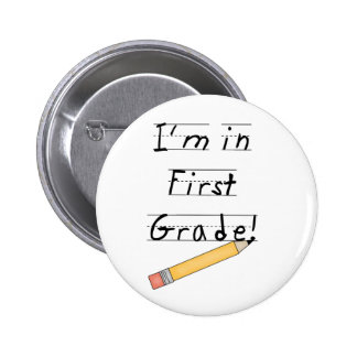 Lined Paper and Pencil First Grade 2 Inch Round Button