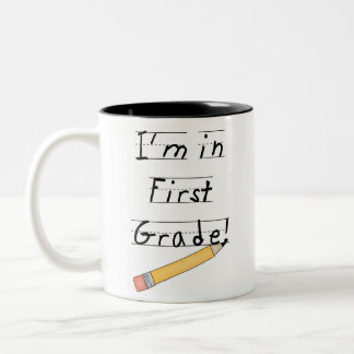 Lined Paper and Pencil First Grade Mugs