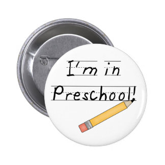 Lined Paper and Pencil Preschool 2 Inch Round Button
