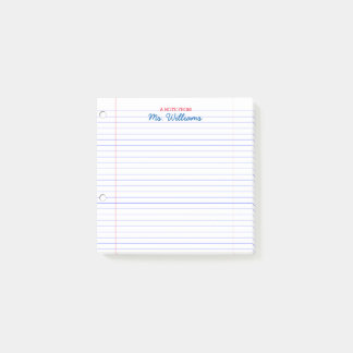 Lined Paper Look Personalized Teacher Post-it Notes