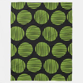 Lined Spots 190917 - Martian Green and Black Fleece Blanket