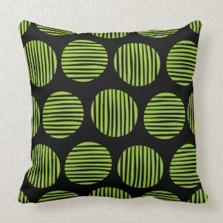 Lined Spots 190917 - Martian Green and Black Throw Pillow
