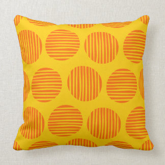Lined Spots 190917 - Orange and Amber Throw Pillow