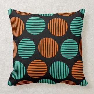 Lined Spots 190917 - Orange and Aqua on Black Throw Pillow