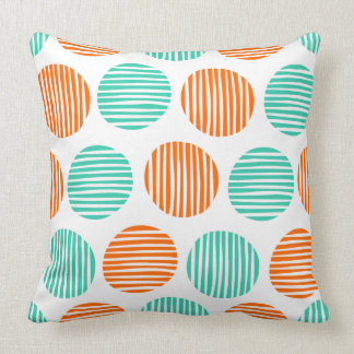 Lined Spots 190917 - Orange and Aqua on White Throw Pillow