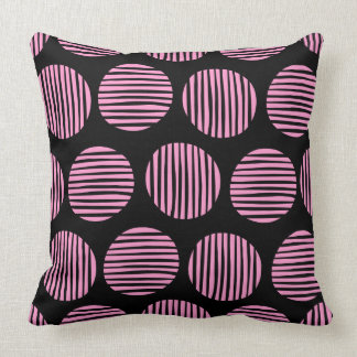 Lined Spots 190917 - Pink and Black Throw Pillow