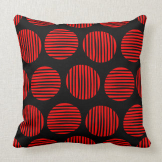 Lined Spots 190917 - Red on Black Throw Pillow