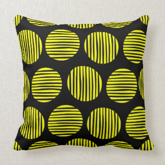 Lined Spots 190917 - Yellow on Black Throw Pillow