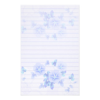 Lined Stationery Paper with Pretty Blue Flowers