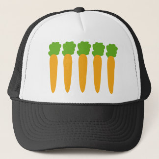 lined up carrots trucker hat
