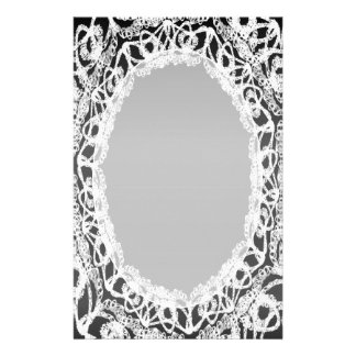 Lined White Lace Damask II p2 Stationery Pages