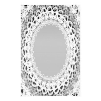 Lined White Lace Damask III p2 Stationery Pages