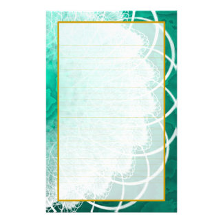 Lined White Lace on Green Texture Stationery