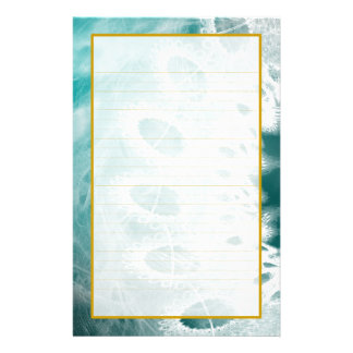 Lined White Lace on Metallic Teal Stationery