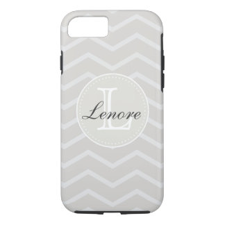 Linen and Beige Chevron Pattern Monogram Name iPhone 7 Case