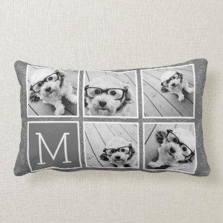 Linen and Gray Instagram 5 Photo Collage Monogram Lumbar Pillow