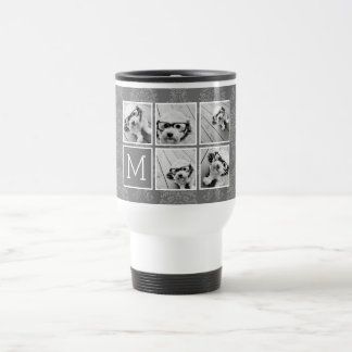Linen and Gray Instagram 5 Photo Collage Monogram Travel Mug