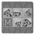 Linen and Grey Instagram 5 Photo Collage Monogram Trivet