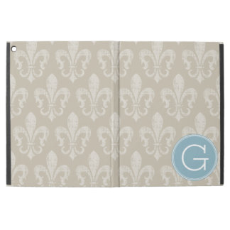 "Linen and Light Blue Rustic Fleur de lis Monogram iPad Pro 12.9"" Case"