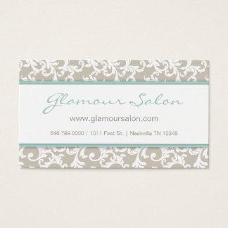 Linen and Mint Elegant Damask Pattern Business Card