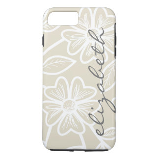 Linen Beige and Charcoal Floral Illustration Name iPhone 7 Plus Case