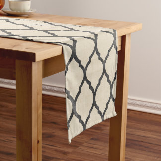 Linen Beige and Charcoal Moroccan Quatrefoil Short Table Runner