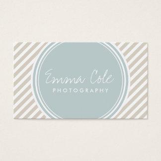 Linen Beige and Cloud Blue Preppy Stripes Business Card
