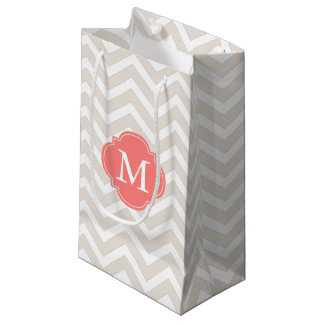 Linen Beige and Coral Zigzag Pattern Monogram Small Gift Bag