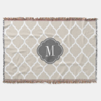Linen Beige and Gray Moroccan Quatrefoil Monogram Throw Blanket