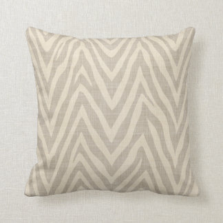 Linen Beige and Taupe Zebra Print Throw Pillow