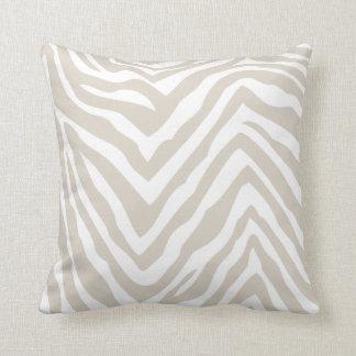 Linen Beige and White Zebra Print Throw Pillow