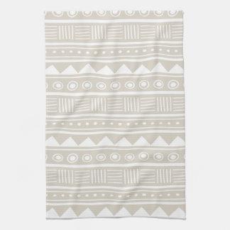 Linen Beige Aztec Tribal Pattern Kitchen Towel