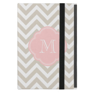 Linen Beige Chevron Custom Monogram Covers For iPad Mini