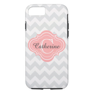 Linen Beige Coral Chevron Zigzag Pattern Monogram iPhone 7 Case