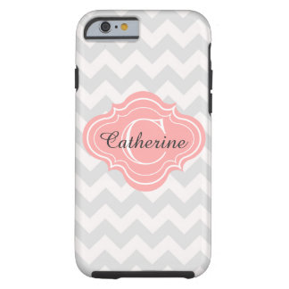 Linen Beige Coral Chevron Zigzag Pattern Monogram Tough iPhone 6 Case