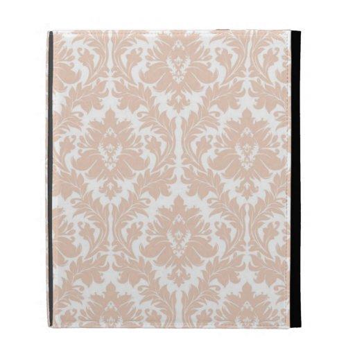 Linen Beige Damask Pattern iPad Folio Cover